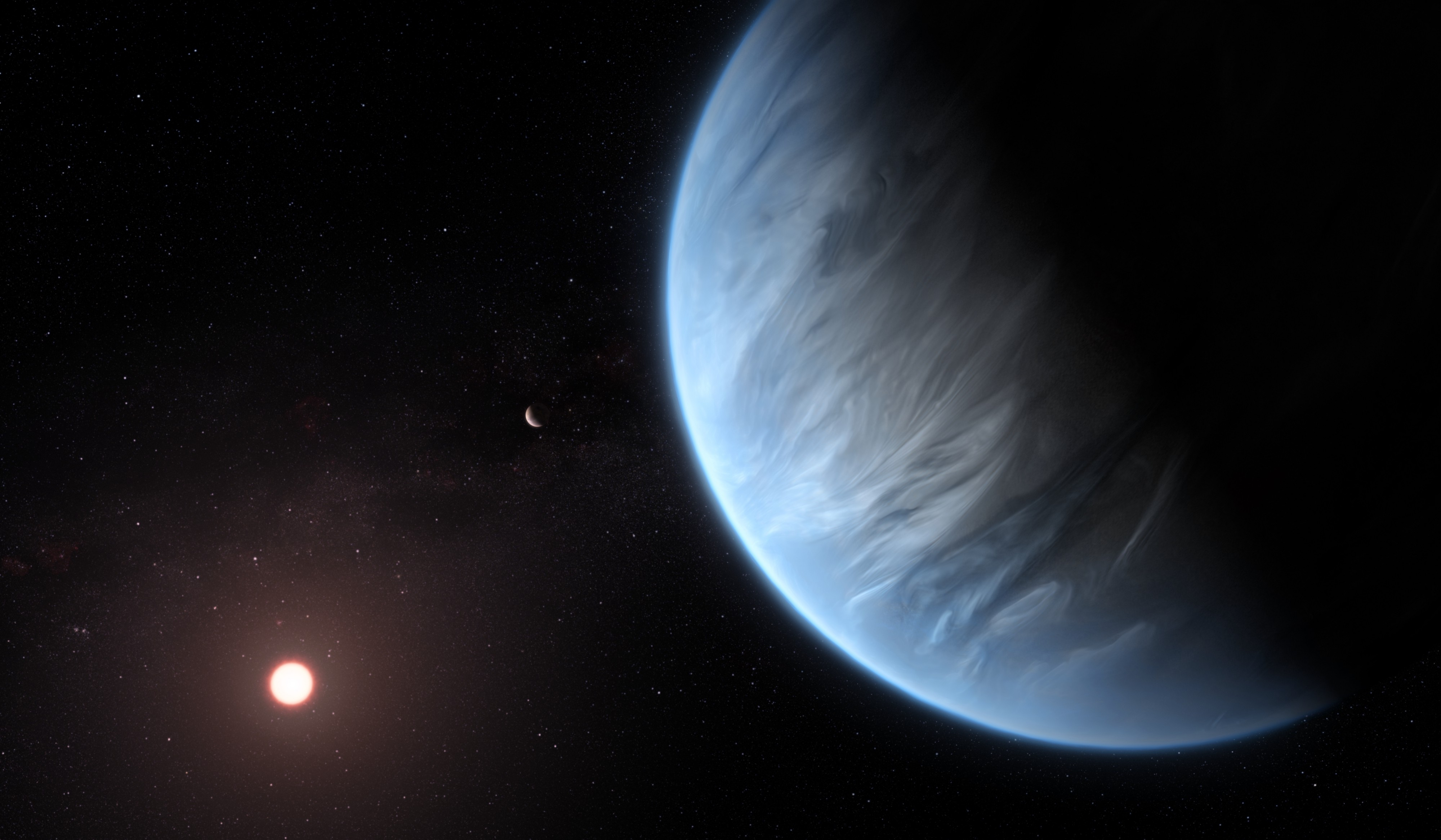 A planet covered in water, orbiting a small star with another planet visible in the background.