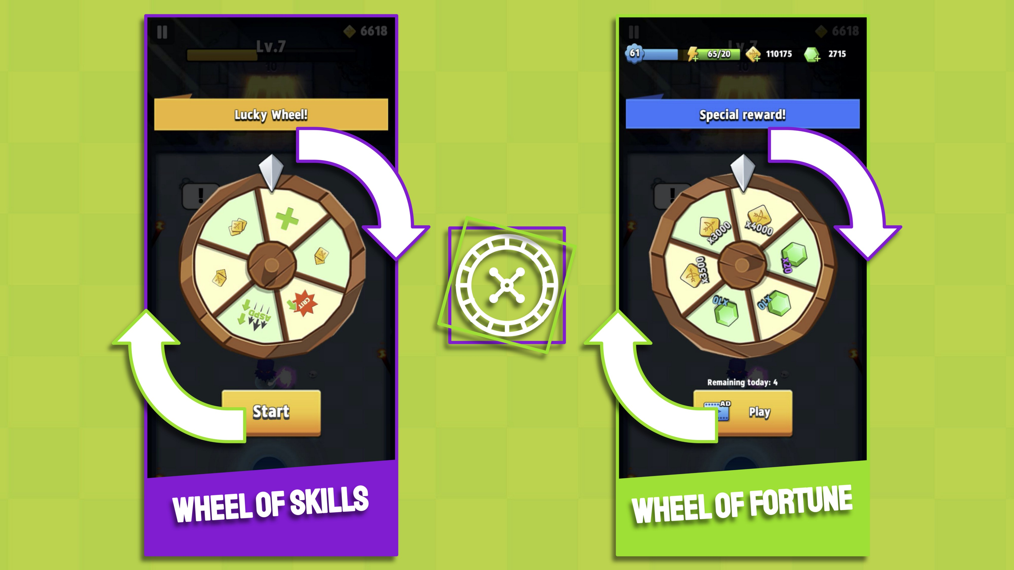 Archero spin to win reward-loop inside battles to engage mobile players