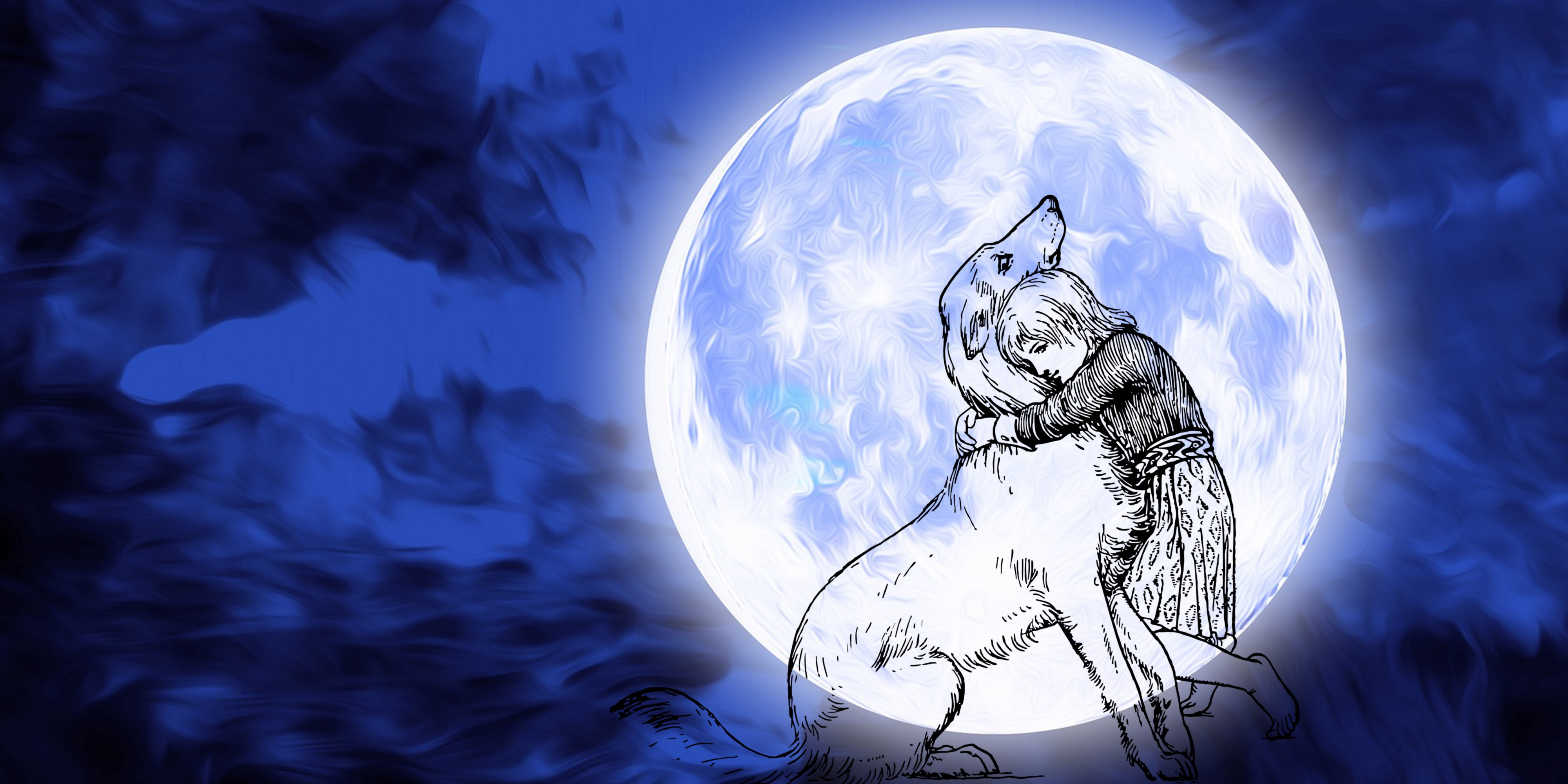Ink drawing of young girl hugging her dog against full moon and midnight blue sky