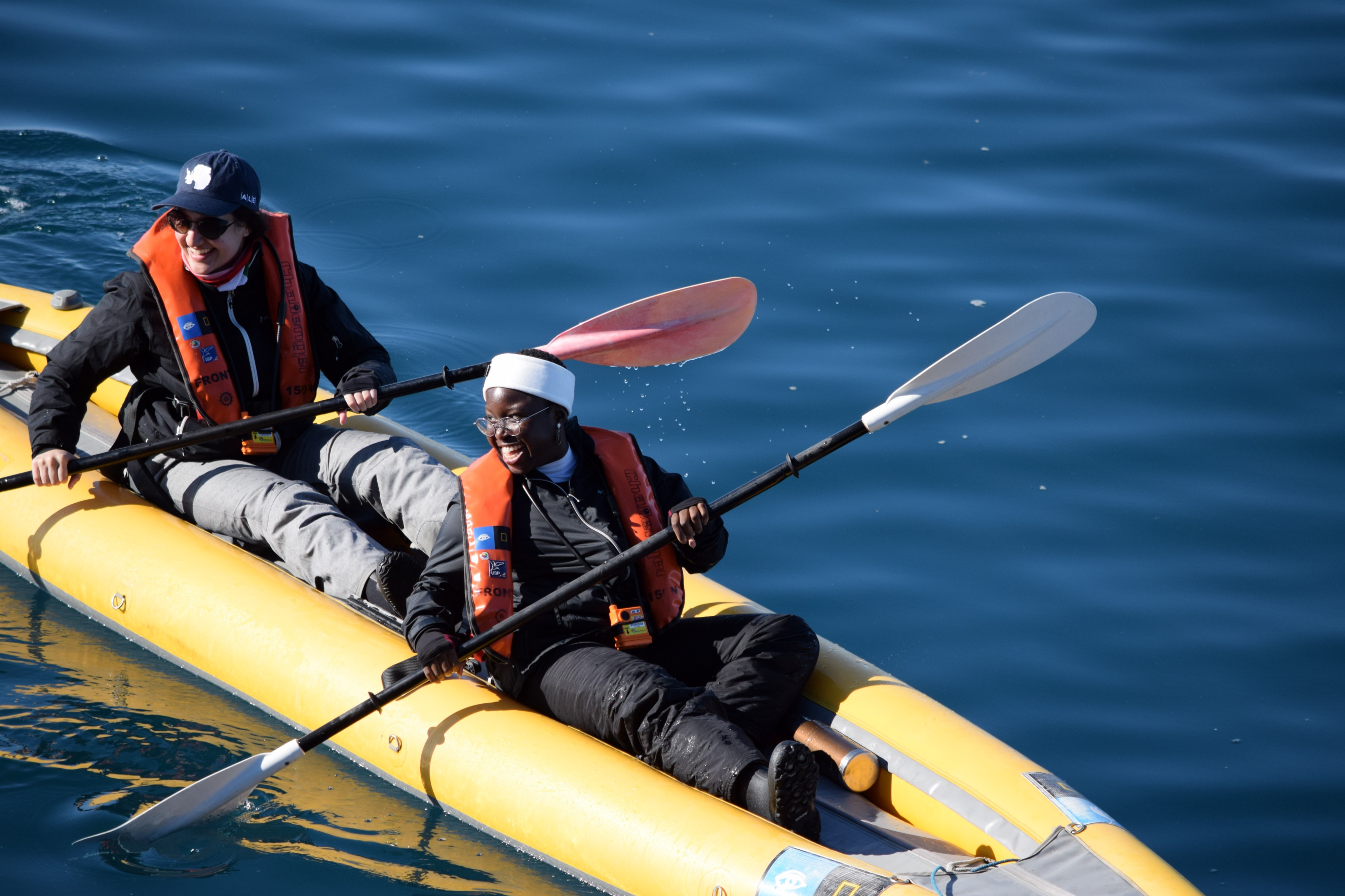 UT student Seyi Odufuye kayaks during her 12-day Arctic expedition.