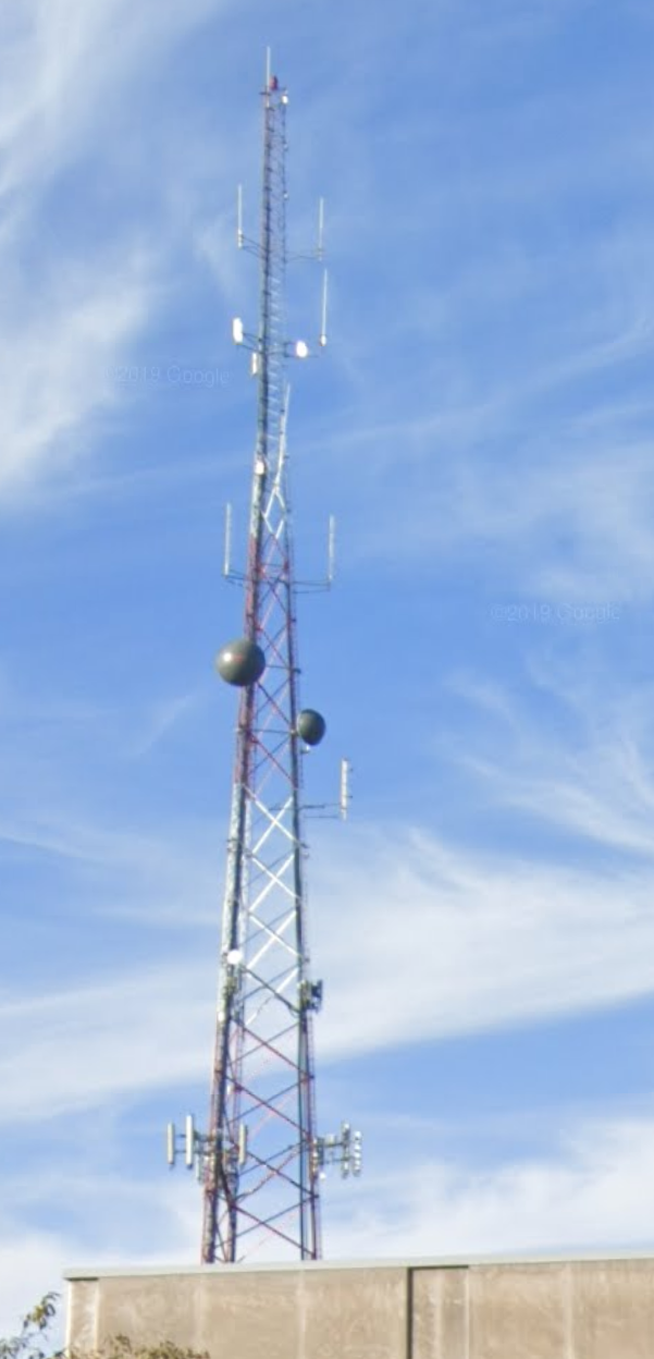 An antenna structure with two dome satellites affixed halfway up