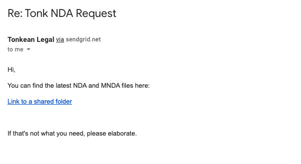 Automated email response for standard NDA request