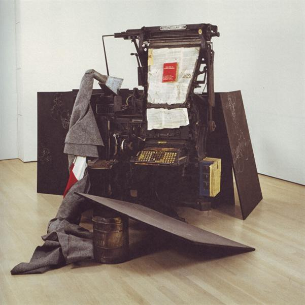 Joseph Beuys sculpture, consisting of various objects including metal, felt, paper