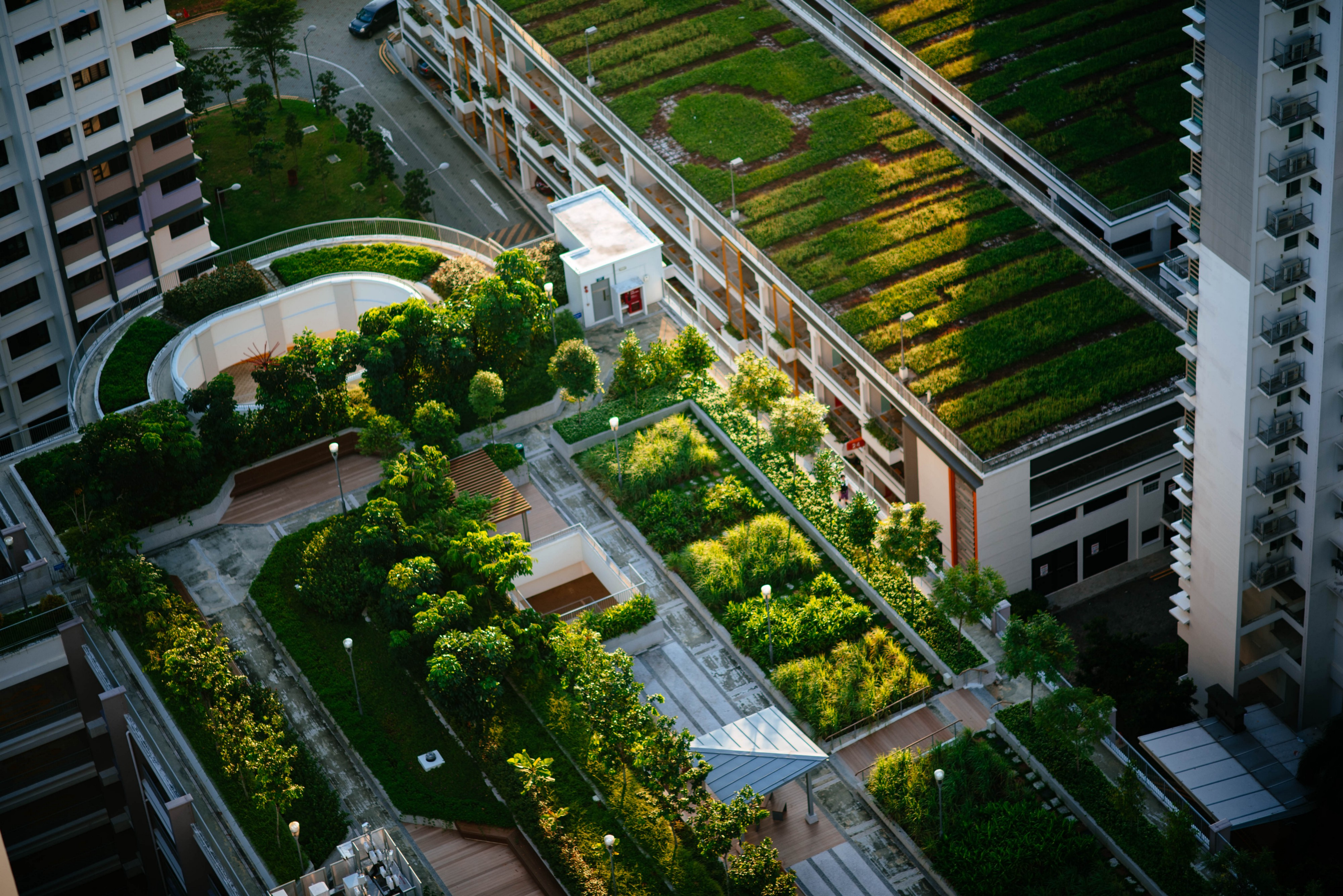 Aerial view of building top gardens.