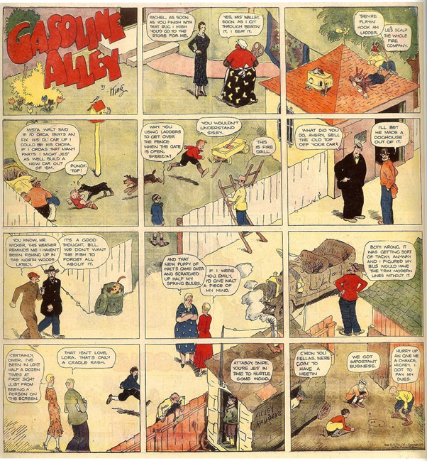 A splash from Frank King's Gasonline Alley, which takes a typically ambitious global view of a scene within its 12 panels.
