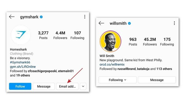 How to look and find an email on an Instagram account