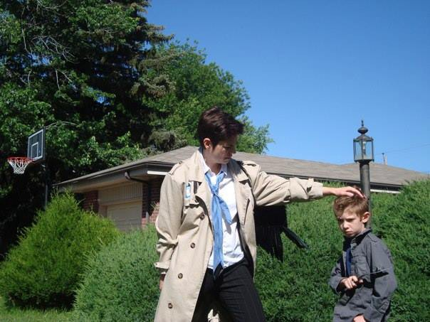 Tanya as Castiel with Tiny Dean.