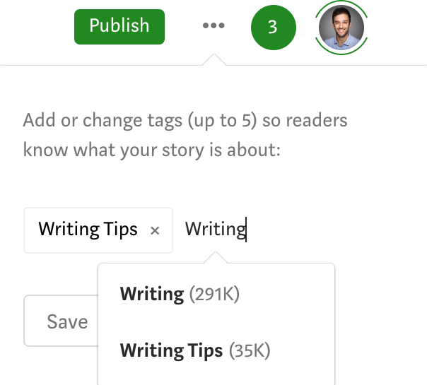 Tagging medium story with up to 5 tags and each tag has X amount of followers