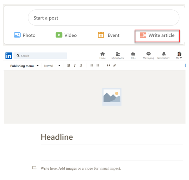 LinkedIn offers a simple interface to write LinkedIn articles.