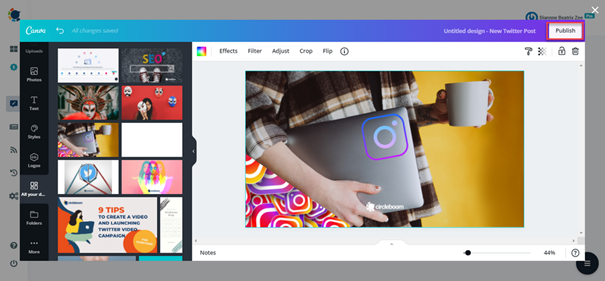 You can access all Canva features and templates while you are in Circleboom dashboard