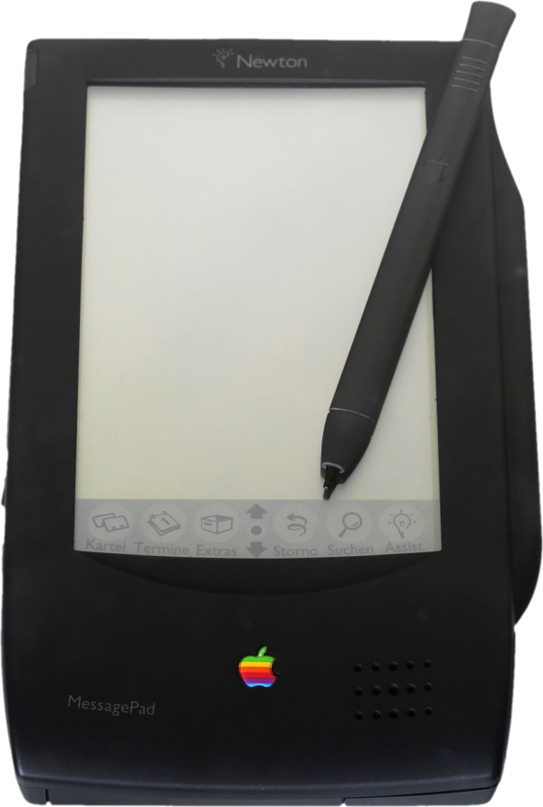 The Apple Newton MessagePad, a hand-held organizer-type tablet with a black-and-white LCD display and stylus circa 1993
