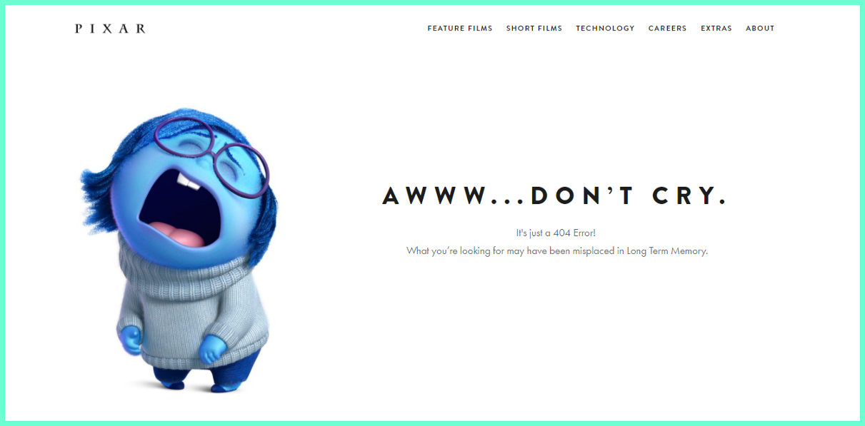 """404 Error screen by Pixar. """"Sad from Inside out movie"""" asking user not to cry because of 404 error."""