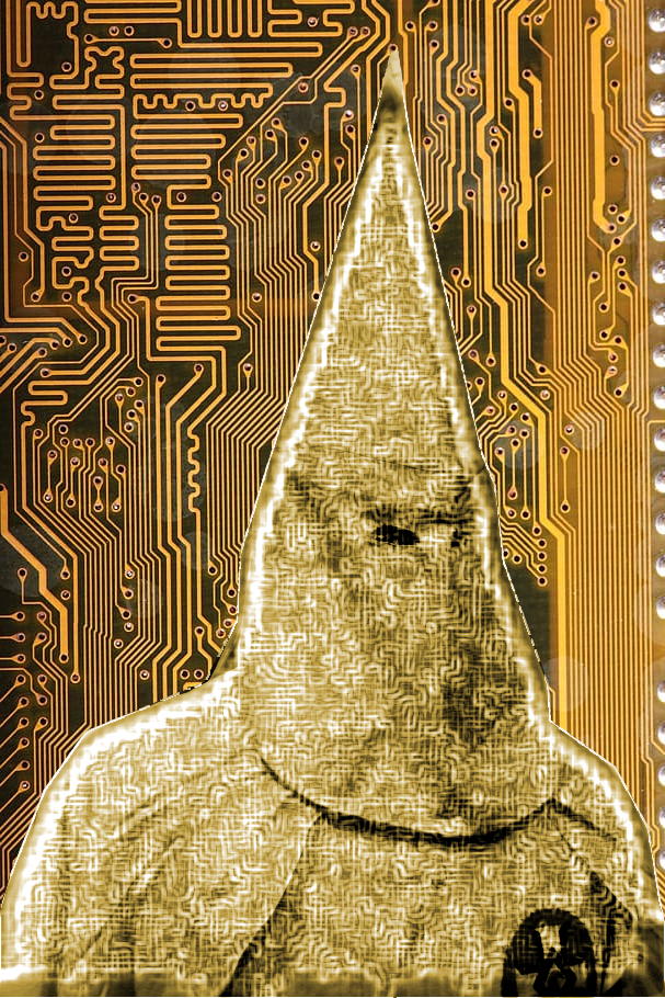 A circuit board with the silhouette of a hooded Klansman, his robes covered in circuit traces.