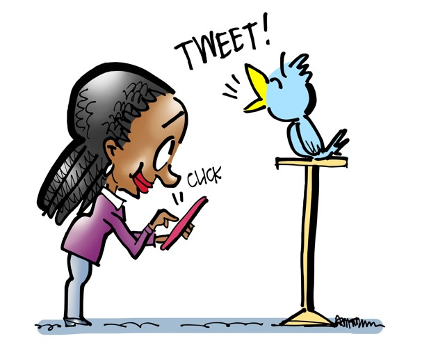 Woman clicking on her mobile phone is causing blue Twitter bird on perch to tweet