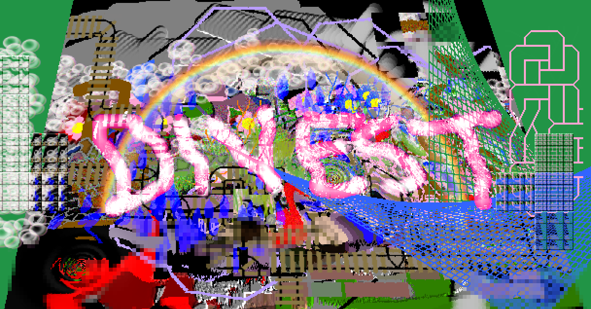 A chaotic image with patterns, bubbles, and a rainbow made in the Tux Paint open source drawing software for kids