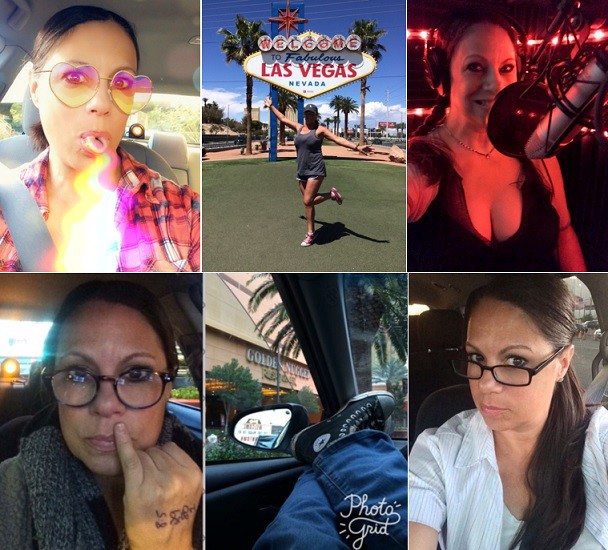 a collage of selfies of Karen Falcon in her taxi, at the Las Vegas sign, in her sound studio and being silly