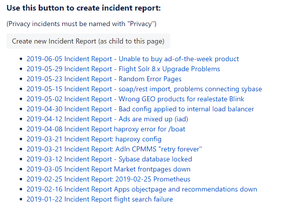 Printscreen of Confluence page listing incident reports