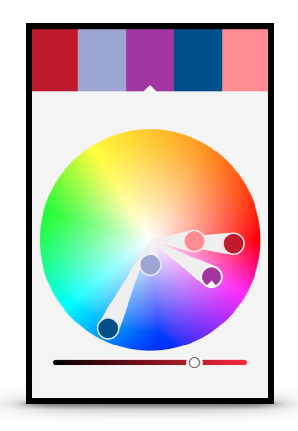 Using the Adobe Capture App to verify we have an analogous Red, Purple and Blue color harmony.