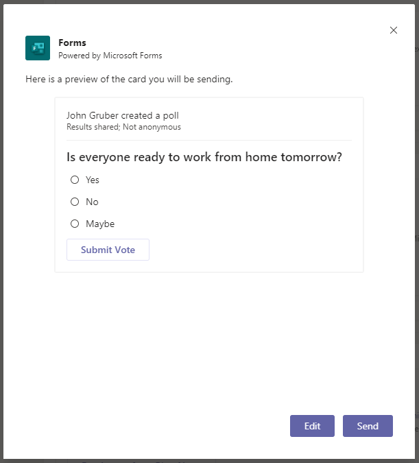 Microsoft Teams review form and submit