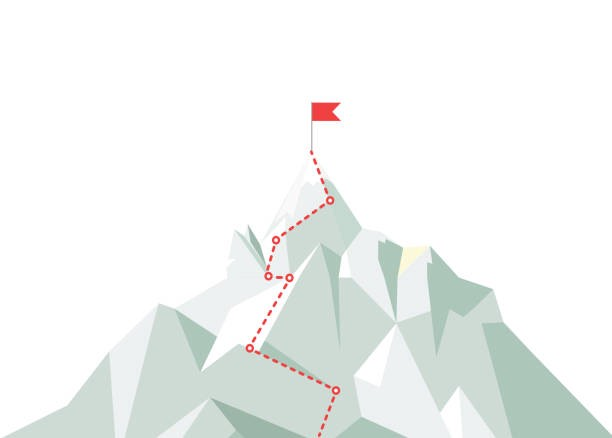 A geometric light green mountain with a winding red dashed line going up to the top, where there is a red flag at the peak