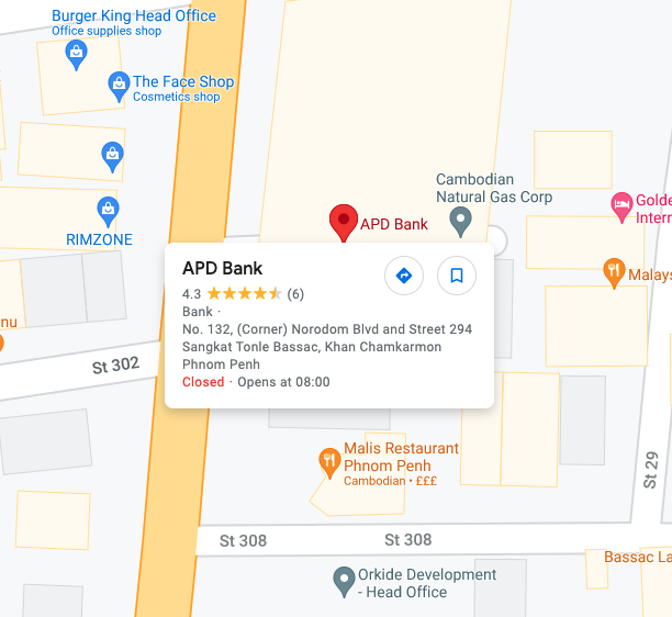 Google maps showing APD Bank Location in Phnom Penh