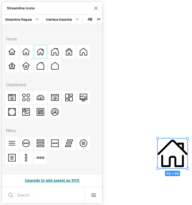 Select the HomeIcon from the StreamLine Icons Menu