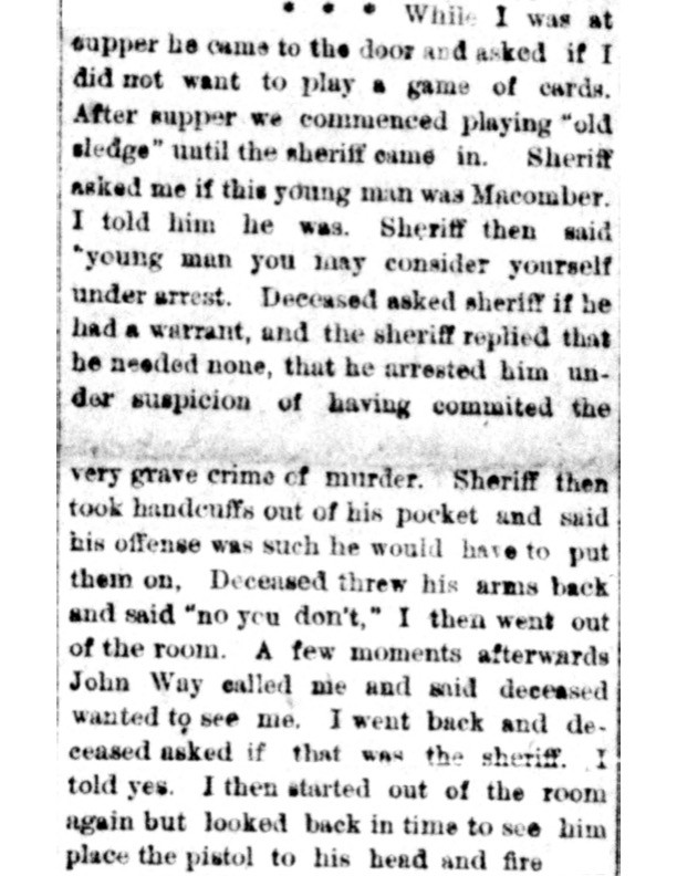 Newspaper excerpt of Frank Mead's testimony at the inquest.