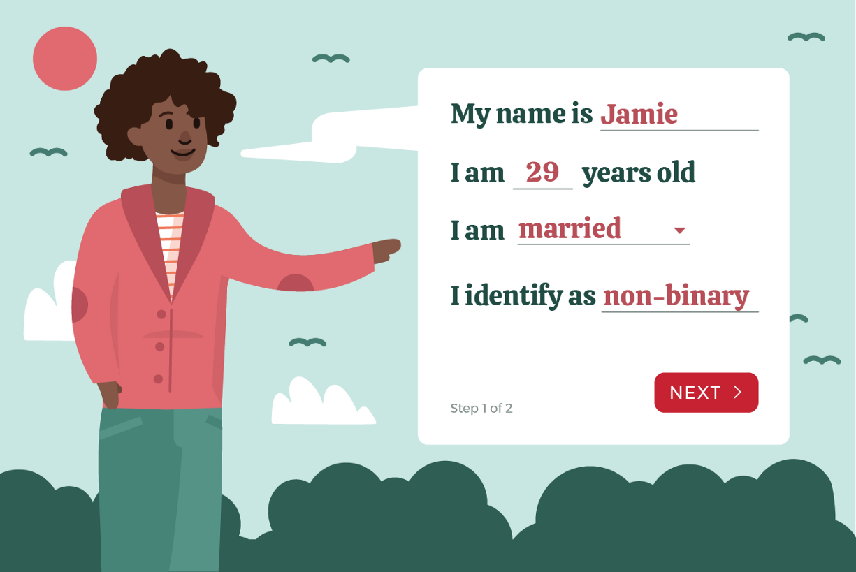 """Illustration with character filling out profile and selecting """"non-binary"""" as gender option"""