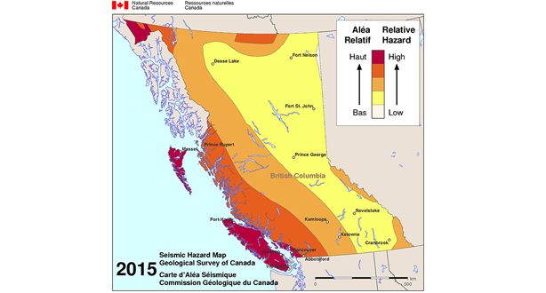 Color-shaded map of British Columbia by seismic hazard