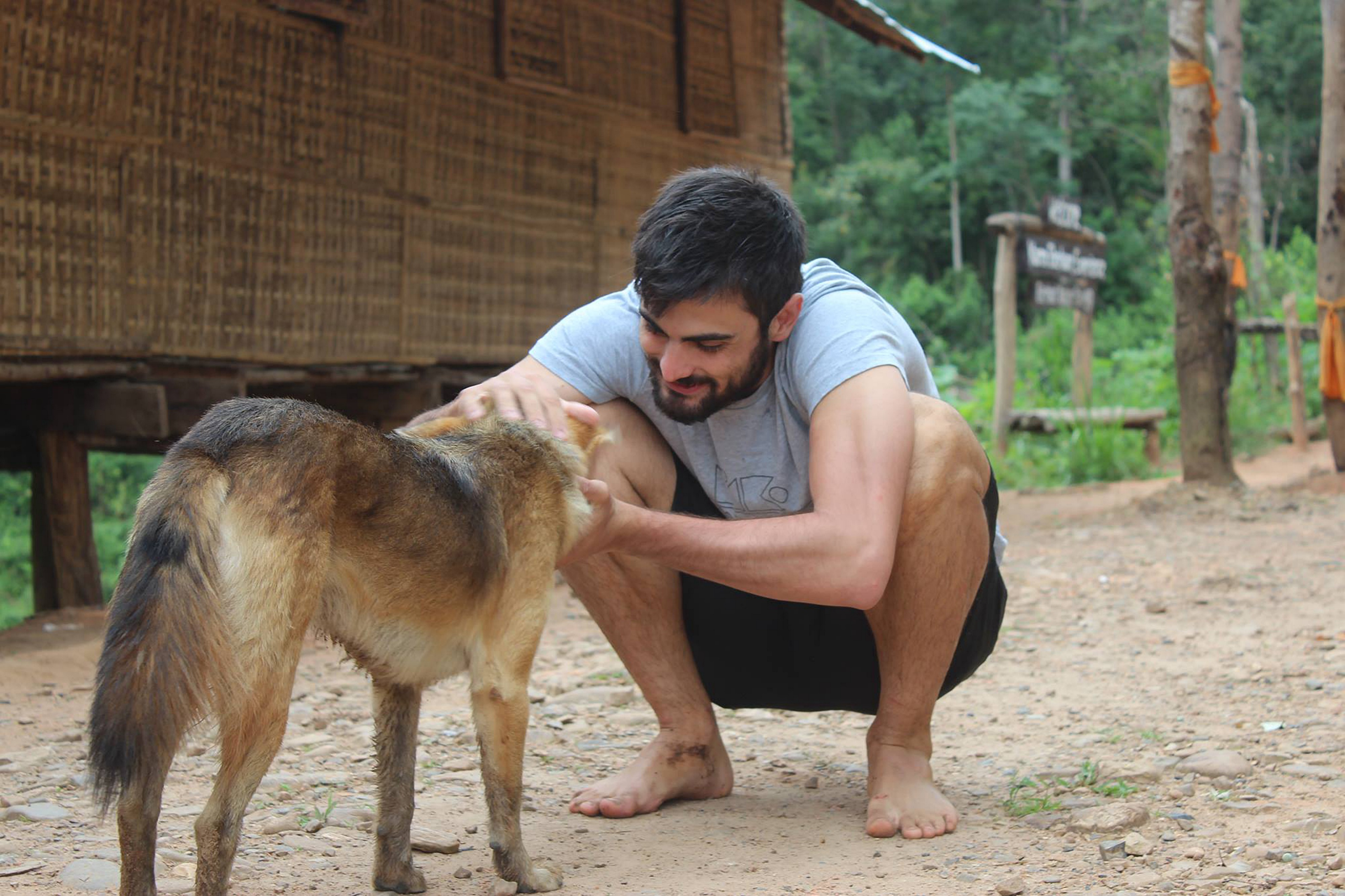 Man sharing love and life lessons with his best furry friend, his dog. German Shepherd dog and owner sharing love.