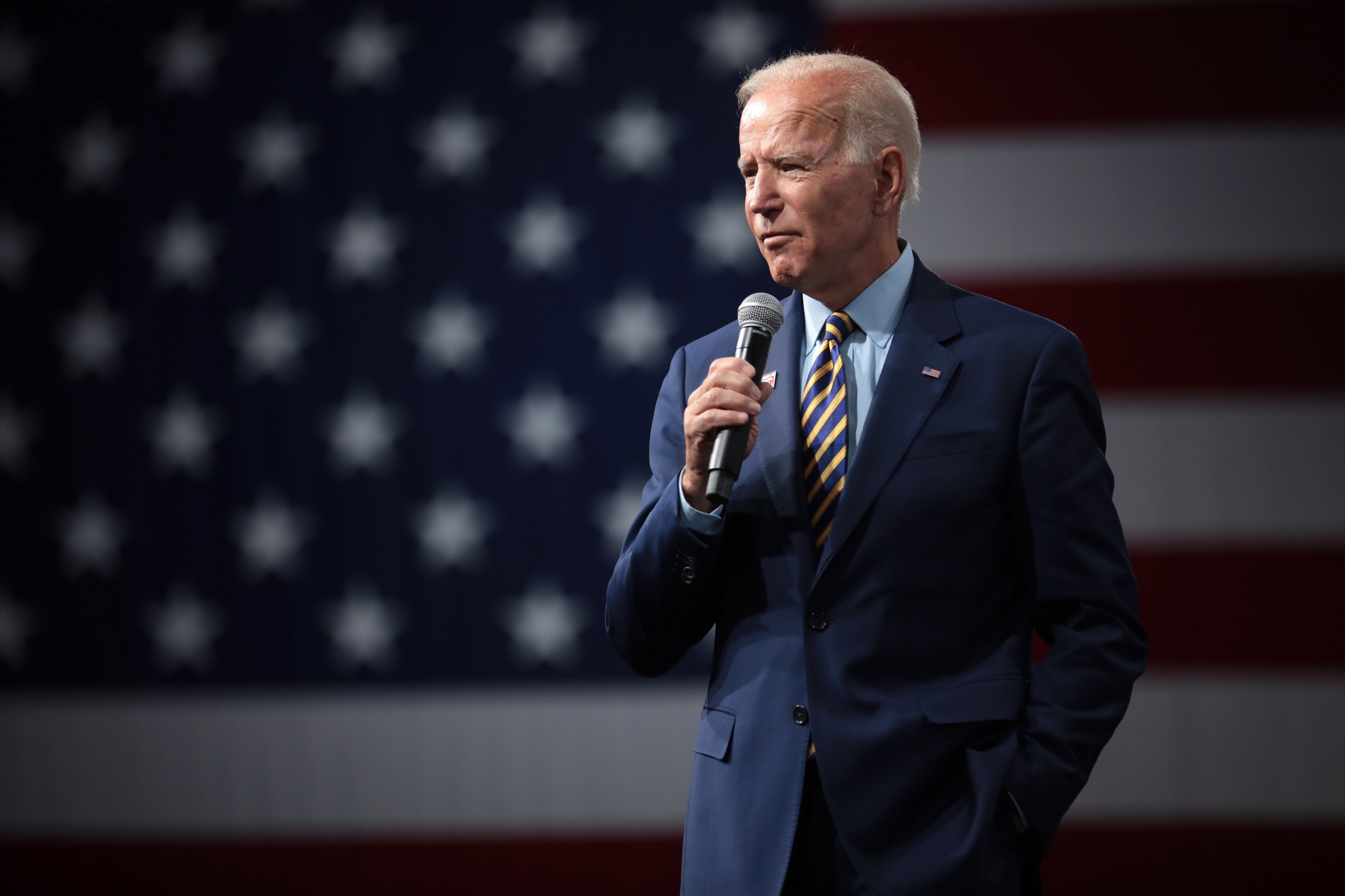 Joe Biden in front of a US flag