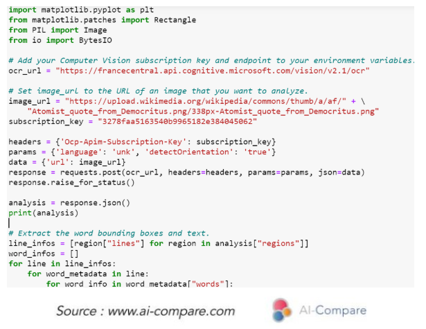 AI-Compare & Optical Character Recognition (OCR): Microsoft Azure