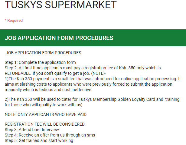 HOAX: This ad asking for a fee to apply for jobs at Tuskys