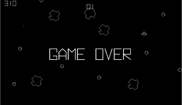 "The ""Game Over"" screen from the old Asteroids arcade game"