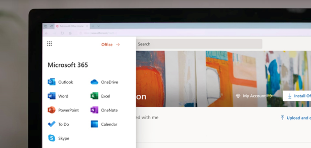 An overview of the Office.com app launcher providing the user quick access to Word, Excel, PowerPoint, Outlook, etc.