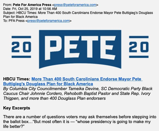 "The press release showing supposed support for Buttigieg's ""Douglas Plan for Black America""."