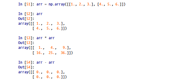 Basic Arithmetic operations with NumPy (screenshot from the book mentioned above)