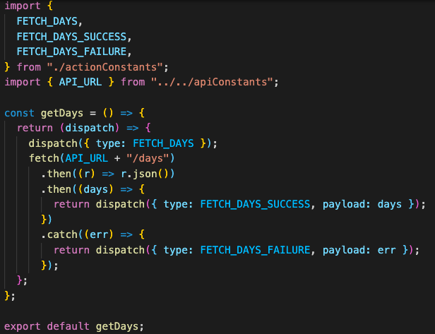 code for my getDays action creator