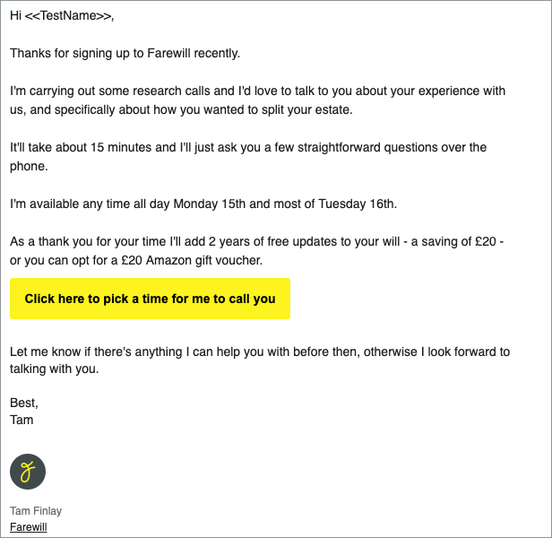 Example participant recruitment email