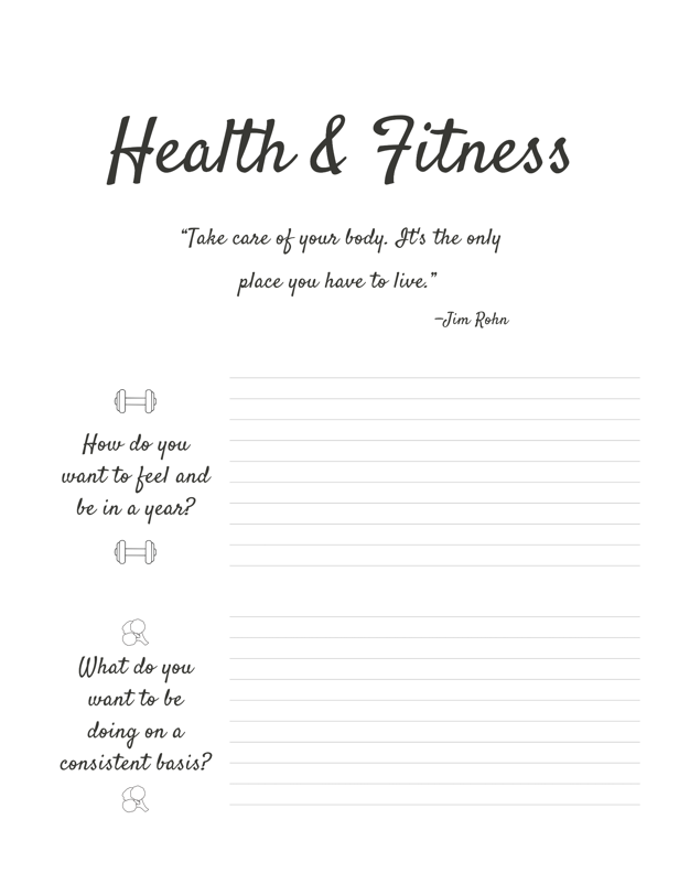 Goal-setting journal example for the Health & Fitness category