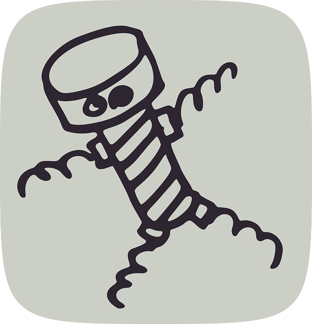Line drawing of a bolt with eyes and corkscrew arms and legs.