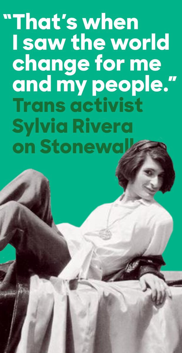 """A black and white photo of Latina trans rights activist Sylvia Rivera, lounging on a short wall and smiling at the camera. Overlain on the image is the text, """"'That's when I saw the world change for me and my people.' Trans activist Sylvia Rivera on Stonewall""""."""