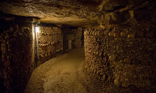 Tunnel of skulls in the Paris catacombs. Photograph: Alamy Stock Photo