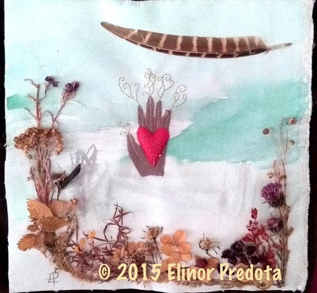 A multimedia artwork: watercolour on canvas, appliqued plants, a feather, and a fabric hand and heart with gold threads.