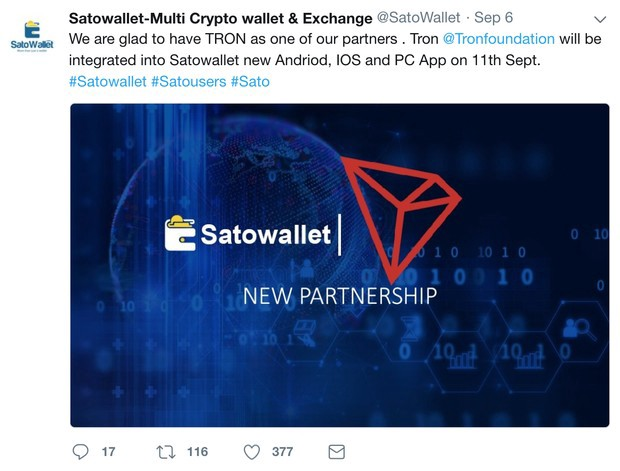 SATOWALLET EXCHANGE PARTNERS WITH TRON - TRON Foundation