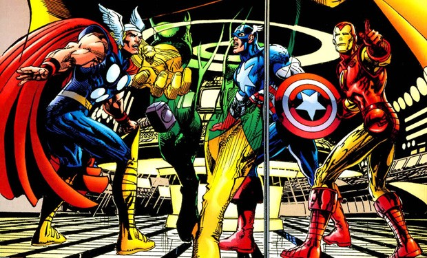 Thor, Captain America, and Iron Man on the cover of the Kree-Skrull War Trade Paperback