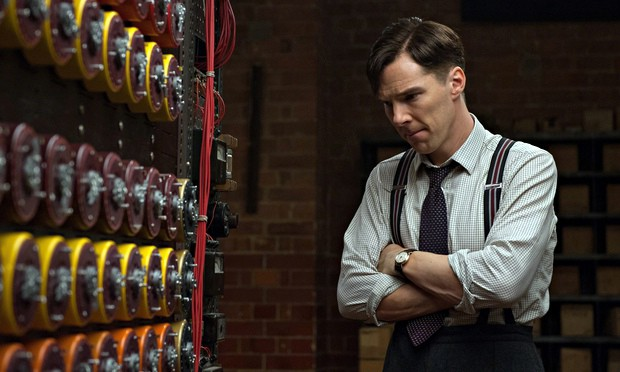 Alan Turing, played by Benedict Cumberbatch looks pensively at his invention