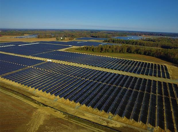 Solar farm owned by Amazon in Virginia which powers an AWS data center