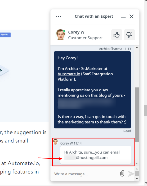 Find an Email Address using Live Chat