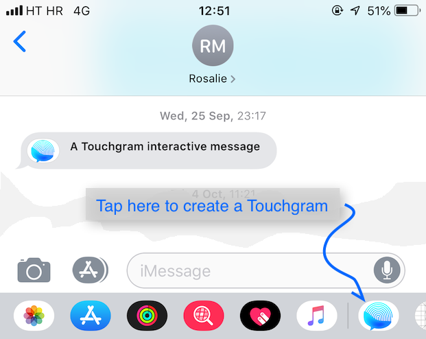iMessage transcript view with instructions to tap on Touchgram icon to create new message